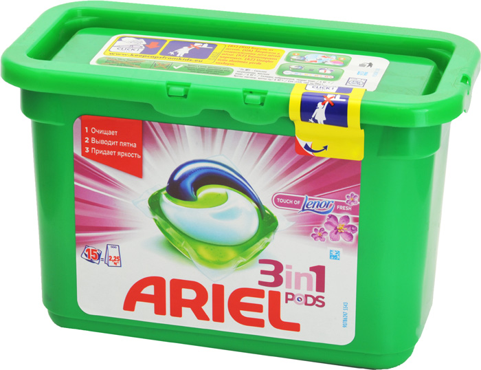 Гель Ariel в капсулах - Touch of Lenor Fresh, 15 х 27г