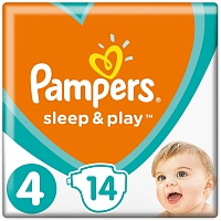 Подгузники Pampers (Памперсы) Sleep Play Maxi 4 (9-14 кг), 14 шт