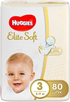 Подгузники Huggies (Хаггис) Elite Soft Mega 3 (5-9кг), 80 шт.